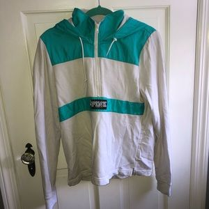 PINK teal and white half zip hoodie